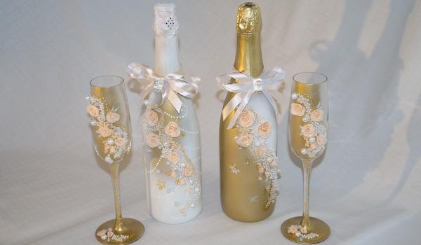 Как сделать своими руками бутылку шампанского на свадьбу