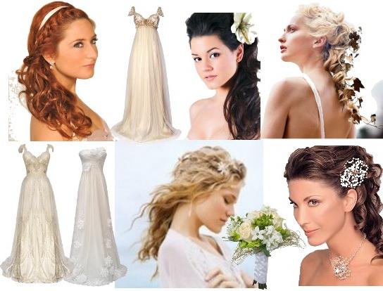 Прически свадебные с греческими платьями
