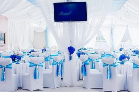зал на голубой свадьбе