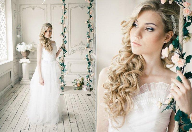 Свадебный образ с распущенными волосами