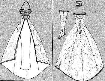 Выкройка свадебного платья с открытыми плечами