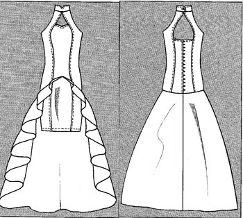 Выкройка свадебного платья со шлейфом
