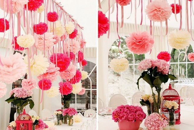 Помпоны из бумаги на свадьбу