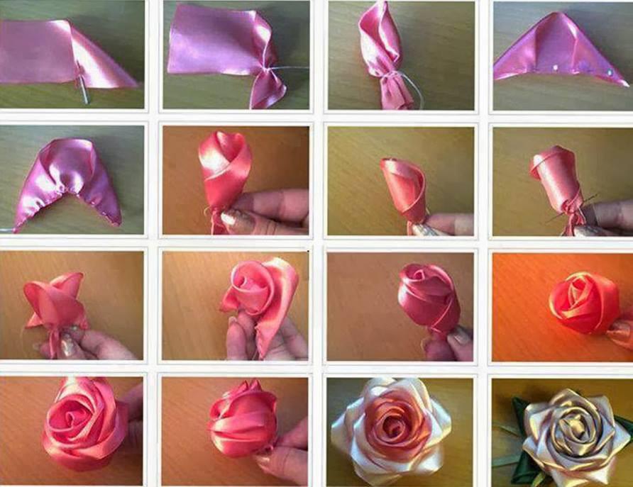 Мастер классы цветы из атласных лент своими