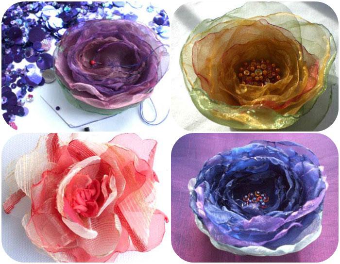Как сделатьцветок из ткани своими руками 98