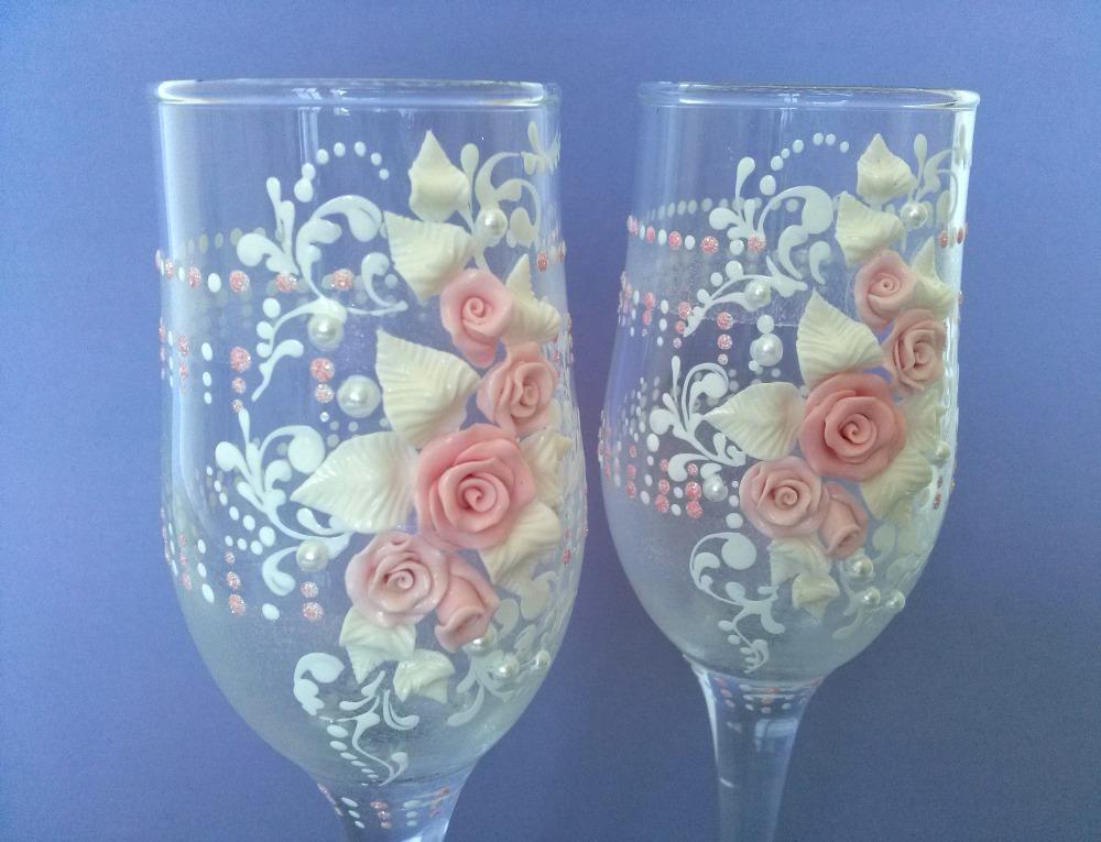 Свадебные бокалы своими руками из полимерной глины