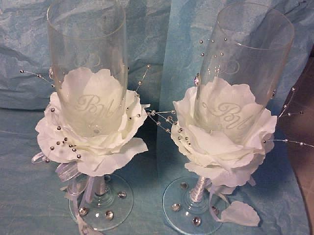 Свадебные бокалы из лепестков розы своими руками