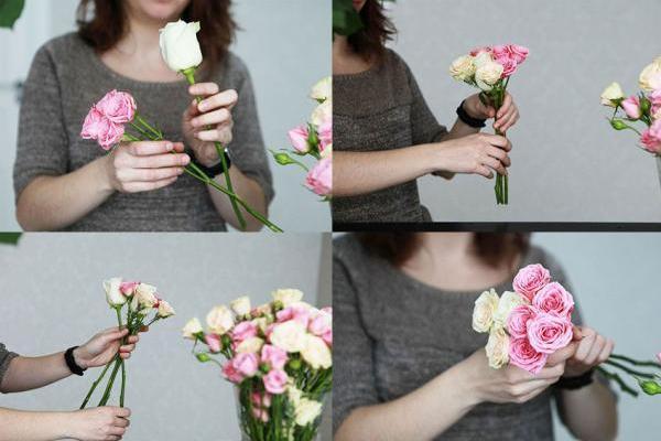 укладывание роз в букет