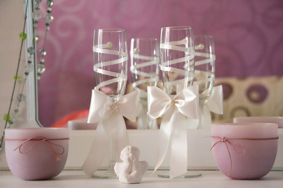 Свадебный бокалы своими руками